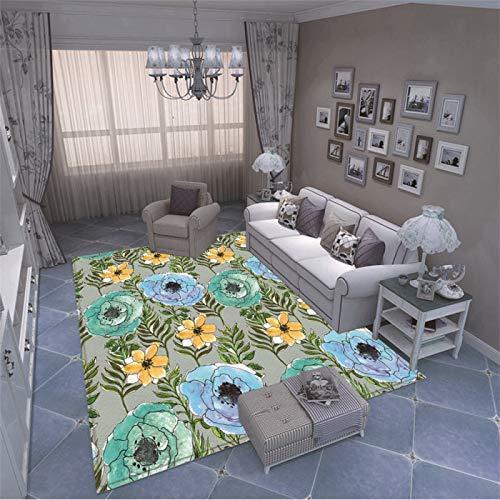 MMHJS Europäischer Stil Einfacher Böhmischer Druckteppich Mode rutschfeste Gepolsterte Bodenmatte Schlafzimmer Wohnzimmer Sofa Couchtisch Hotel Party Teppich
