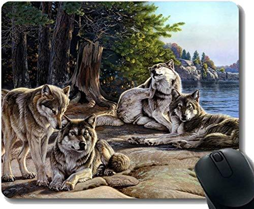 Rechteck Mauspad, Tier Wolf Axt Gummi Großes Mauspad Mat
