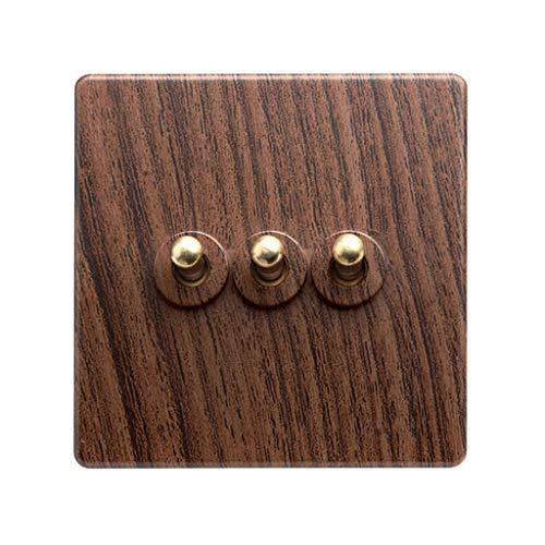 FSJKZX Interruptor De Luz Inicio Hotel Retro Patrón De Madera Panel De Enchufe Interruptor De Encendido 86 Tipo De Enchufe 10A Interruptor De Cuatro Vías De Control Dual (Color : Brown, Size : 3)