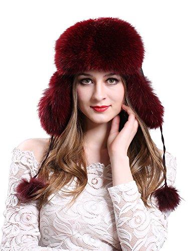 LITHER Women's Winter Trapper Hat Genuine Fox Raccoon Fur Russian Ushanka Hat (Wine red)