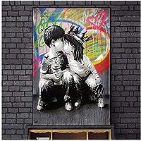 落書きの男の子と女の子が壁のアートキャンバスのポスターとプリントにキス壁の写真のストリートアートの絵画にキス家の装飾60x80cm(24x32in)