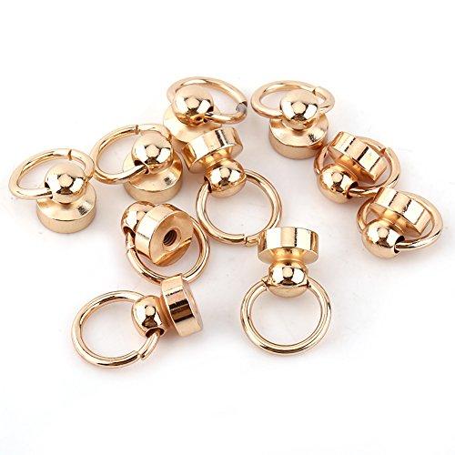 GLOGLOW 10pcs Fester Messing-Runde Knopf-Bolzen, Schnuller-Form-Niet-Bolzen-Schrauben-rückseitiges Rundes Ring-Leder-Handwerks-Zusatz-Gold