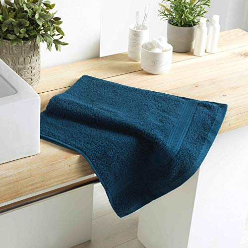 DOUCEUR D'INTERIEUR serviette de toilette 50 x 90 cm eponge unie colors bleu nuit