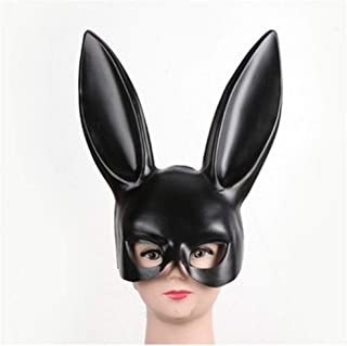 QYLOZ Masquerade Mask Animal Eyemask with Long Ears Mask for Halloween Party Costume Cosplay Dressing Up Props Ball Easter Carnival-White (Color : Black, Size : B)