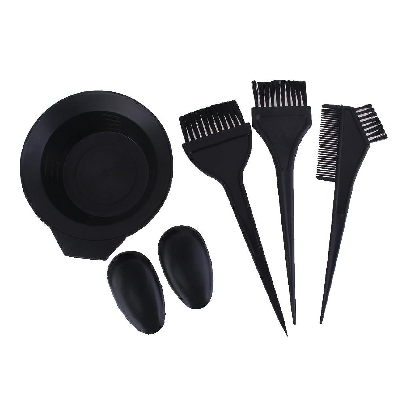 症状歌う安いです【ノーブランド品】色合いツール 美容サロンのヘアカラー染料ボウルコームブラシセット - 黒