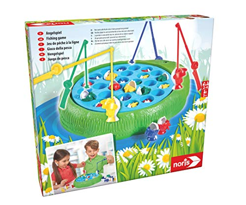 Noris 606066956 Angelspiel, Wer Zuerst alle Fische Seiner Farbe geangelt hat Gewinnt, für Kinder ab 3 Jahren, Bunt