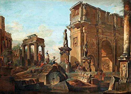 O Arco de Constantino (1731) de Giovanni Paolo Panini - 30x41 - Tela Canvas Para Quadro