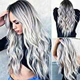 RuiSi Gris plata peluca negro suelto ondulado rizado peluca sintética pelucas para las mujeres mejor peluca gris libre pelo red