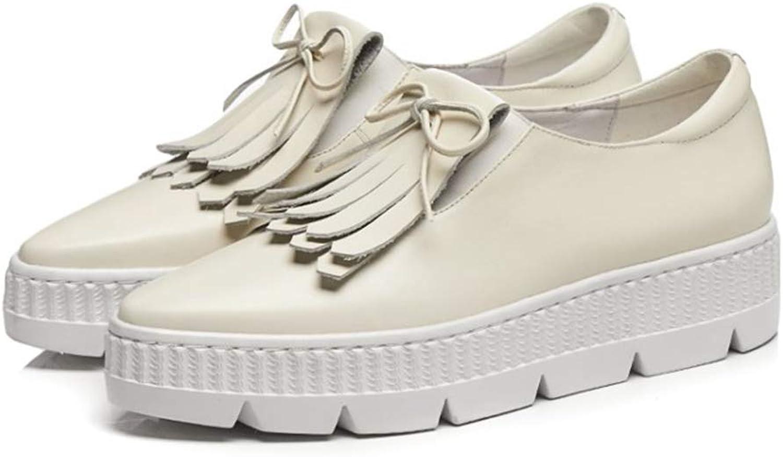 T -JULY -JULY -JULY kvinnor Flats Platform skor Fringaae Genuine läder kvinna Loafers Casual Leisure skor  spännande kampanjer
