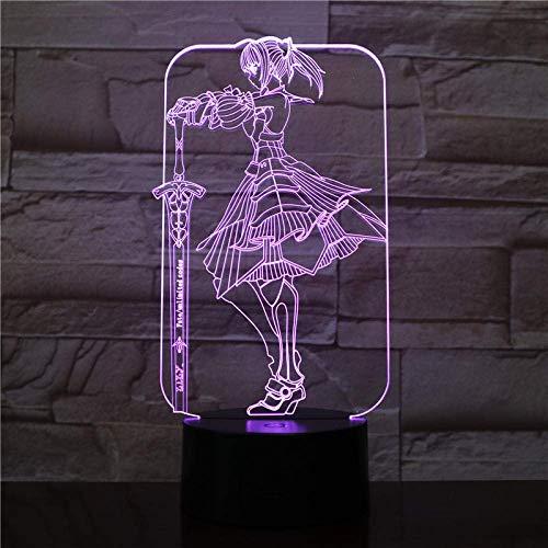 Luz De Noche Led 3D Claire Rieveldt Dibujos Animados 7 Colores Cambiantes Niños Luminary Claymore Lámpara De Mesa Dormitorio Kureimoa