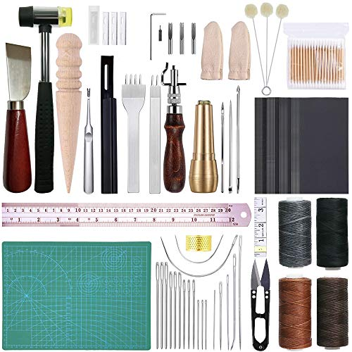 67 Pieces Leather Sewing Repair Kit for DIY Leather Craft Tools Hand Stitching Tool Set with Waxed Thread Groover Awl Needles