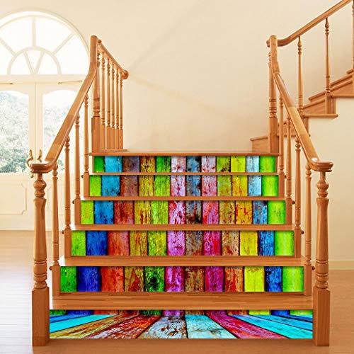 Haorw 6 Stücke Treppen Aufkleber Selbstklebend - 3D DIY Holzimitat Bord Abnehmbare Aufkleber Für Treppenhaus - 108x100cm