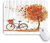 ZOMOY マウスパッド 個性的 おしゃれ 柔軟 かわいい ゴム製裏面 ゲーミングマウスパッド PC ノートパソコン オフィス用 デスクマット 滑り止め 耐久性が良い おもしろいパターン (秋の木の自転車秋の自転車カエデの葉)