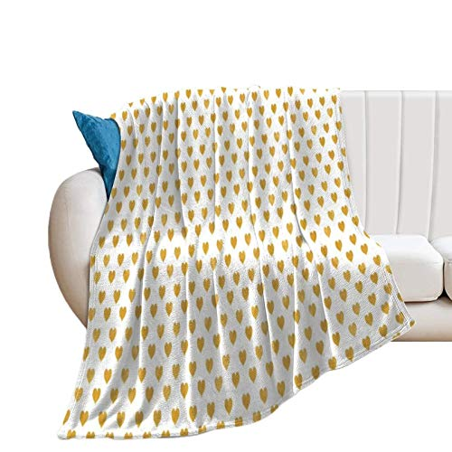 Donghouse Blanket Love White Golden Heart Flannel Blanket Comfort Velvet Touch Ultra Plush, Novelty Soft Throw Blankets fit Couch Sofa Bedspread Coverlet Bed Cover 40' X 50'