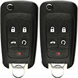 KeylessOption Keyless Entry Car Remote Uncut Flip Key Fob Replacement for OHT01060512 (Pack of 2)