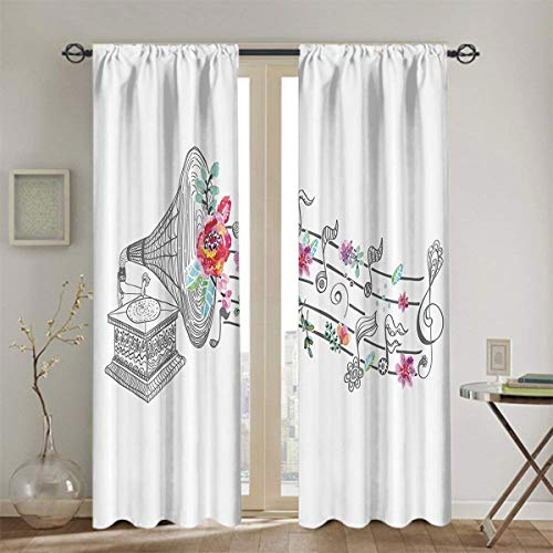 nooweihome Music Decor Sliding Curtain Vintage Gramophone Record Player with Floral Ornament Blossom Antique Household Darkening Curtains W52 x L39 Grey Pink