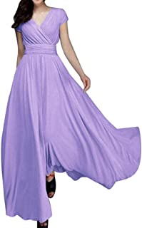 779e30eb2b Party Dress, Muranba Women Chiffon V-Neck Solid Evening Party Long Dress