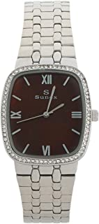 Sunex Women's Watch Silver Stainless Steel Brown Dial S6150SBR