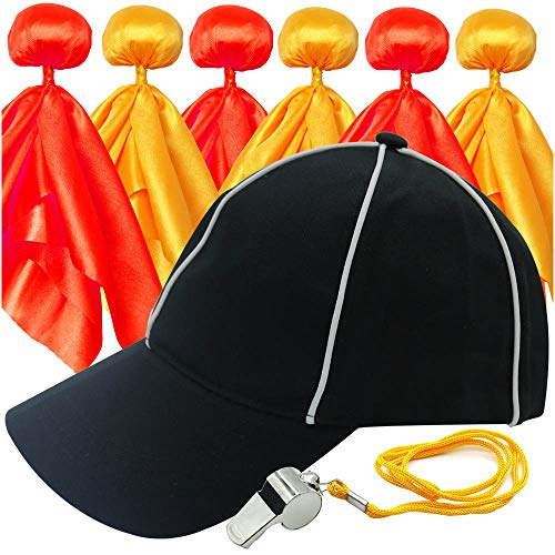 6 Pieces Football Penalty Flag Tossing Flags Sports Fan Set Penalty Flag Party Accessory (3 Yellow and 3 Red), Official Referee Hat and Stainless Steel Whistle with lanyard
