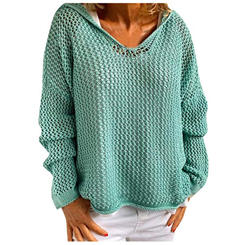 Pullover Sweaters Women Solar Projection Clothing Solid Color Hooded Sweater V Neck Section Slim Knit Sweaters Casual Loose Tops Knit Sweaters