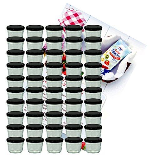 MamboCat 50er Set Sturzglas 230 ml Marmeladenglas Einmachglas Einweckglas to 82 schwarzer Deckel incl. Diamant-Zucker Gelierzauber Rezeptheft