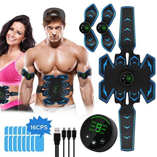 Lovebay EMS Bauchmuskeltrainer, EMS Trainingsgerät USB Wiederaufladbar Elektrostimulation Muskeltrainer Bauchtrainer Muskelstimulator für Arm Bauch Beine Bizeps Trizeps mit 16Stk Gel Pads