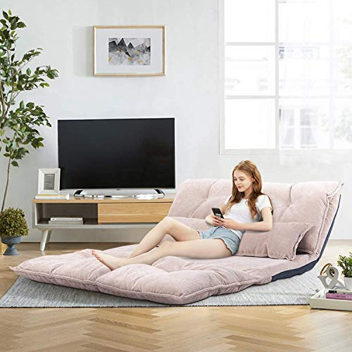 Floor Sofa Bed, Floor Folding Sofa Bed, Black Leather Floor Sofa, Adjustable Floor Couch and Sofa with 2 Pillows for Reading, Gaming, Sleeper