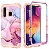 PIXIU Compatible with Samsung Galaxy A20/A30/A50 6.4 inch case, Heavy Duty 3 Layer Shockproof Full-Body Protective Hard Phone Cover Case for Galaxy A50/A30/A20 Marble (Purple)