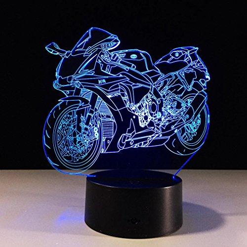 GZXCPC Moto 3D Vision Illusion Lampe colorée Couleur Tactile Panneau Acrylique LED Lampe de Chevet décoratif lumière Nuit Creative Cadeau