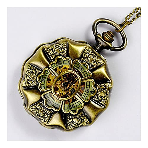 XGJJ Reloj de Bolsillo Classic Roman Numerales Romanos para Hombre Estudiantes para Mujer Viejo Hombre Retro Hollow Mecánico Reloj de Bolsillo