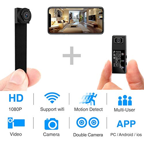 Spy Camera WiFi Mini Hidden Camera 1080P HD Portable Wireless Camcorder Video Recorder IP Cameras with Dual Detachable Lens/Motion Detection Nanny Cam for Home Security Monitoring New APP