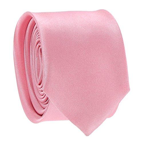 Cravate Fine Rose pale - Cravate Homme Coupe Slim Moderne - 5cm à la Pointe - Couleur Unie - Accessoire Chemise pour Mariage, Cérémonie