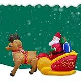 HHORD Papá Noel Inflable De Navidad con El Regalo En Trineo Tirado por Renos Autoinflable Aire Soplado Césped Yard Adornos De Jardín Casa Partido Prop