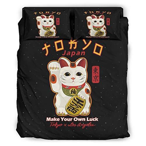 Haythan Juego de ropa de cama de 4 piezas, diseño de gato japonés de la suerte, color blanco, 175 x 218 cm