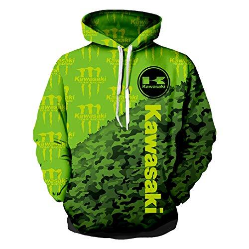 Unisex Spring Langarm Hoodie 3D Digital International Kawasaki Logo Print Sweatshirt Lässiges Sweatshirt (1,4XL)
