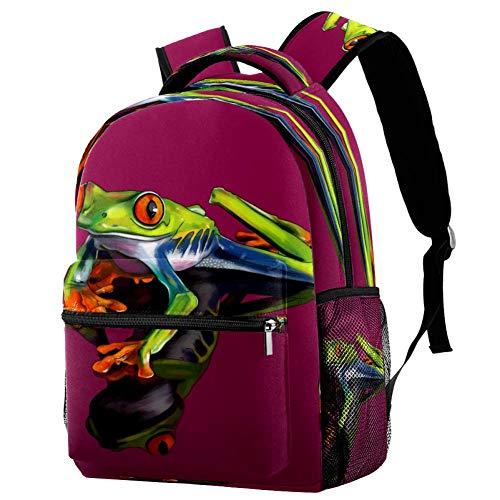 Mochila de la rana de ojos rojos mochila de la escuela bolsa de libro mochila casual para viajes, estampado 4, Talla única, Mochila de a diario