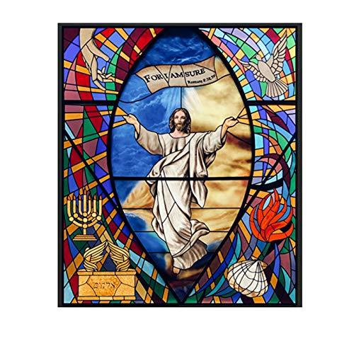 Película decorativa de vidrieras de iglesia, no adhesiva, anti-UV estática, privacidad, película para colgar, Jesús, figuras religiosas decorativas, adhesivo de vidrio de vinilo,70x120cm(28'x47')