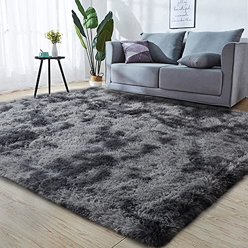 GKLUCKIN Shag Ultra Soft Area Rug, Fluffy 7'X10' Tie-Dyed Grey&Blue Rugs Plush Fuzzy Non-Skid Indoor Faux Fur Rugs Furry Carpets for Living Room Bedroom Nursery Kids Playroom Decor