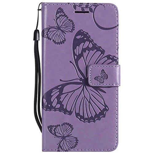 DENDICO Coque Sony Xperia Z3, Papillon Imprimé PU en Cuir Coque Magnétique Portefeuille TPU Étui Housse pour Sony Xperia Z3 - Violet