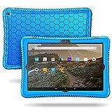 FINTIE Funda de Silicona para Amazon Fire HD 10 (Solo Compatible con el Tablet de 11.ª generación, Modelo de 2021) - [Honey Comb Series] Carcasa Antideslizante y Antichoque para Niños, (Azul)