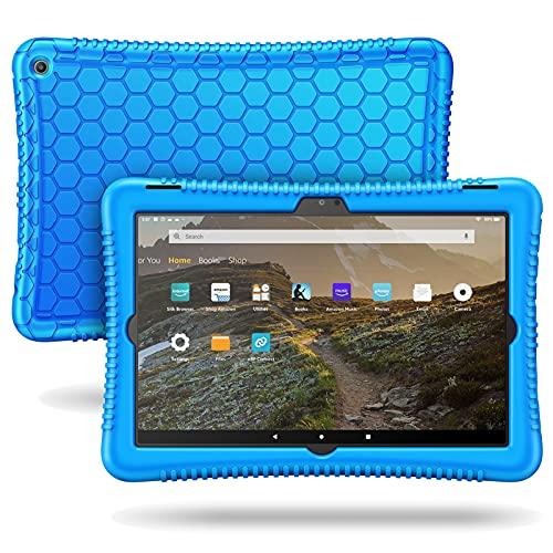 Fintie Silikon Hülle für Das Neue Amazon Fire HD 10 & Fire HD 10 Plus (nur kompatibel mit Tablets der 11. Generation, 2021) - Leichte Stoßfeste Silikon Kinderfre&liche Schutzhülle, Blau