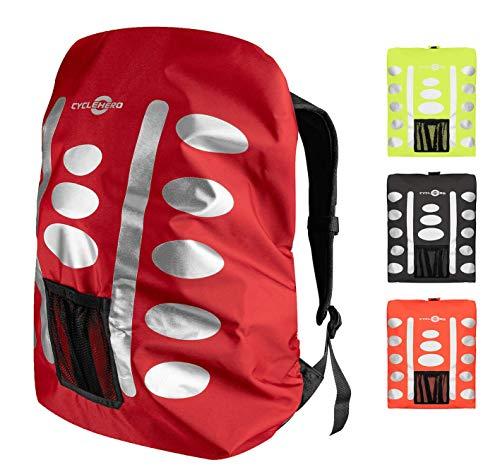 Regenschutz Rucksack (rot, 40-55L) Rucksack Überzug mit reflektierenden Elementen und Extra-Tasche - Wasserdichtes Regen Cover für viele Rucksack Größen (40L, 50L, 60L) Unisex Rucksackschutz