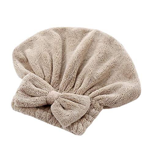 Trockenes Haar Kappe,1 Stück Quick Dry Mikrofaser Haartrockner Handtuch Kopf Wickeln Hut,Verdickt Wrap Turban Haartrockentuch Super Absorbent Schnell Trocknend Kopfhandtuch Hut (Khaki)