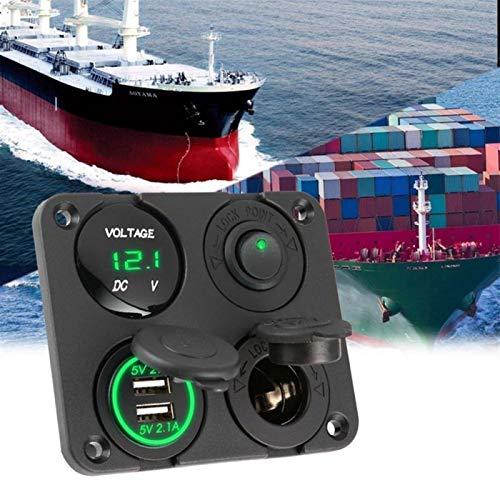 Estilismo de automóviles y accesorios corporales N / OFF Toggle Switch Tool Doual USB Cargador Cigarrillo Toma de cigarrillo Voltímetro para barco de automóvil Camión marino azul / verde / rojo Automo