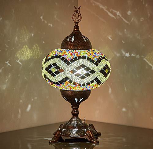 Lámpara de mesa con mosaico, funciona con pilas, con bombilla LED integrada, turco marroquí, hecho...