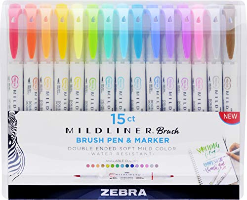 Zebra Pen Mildliner Double Ended Brush and Fine Tip Pen, Assorted Colors, 15-Count