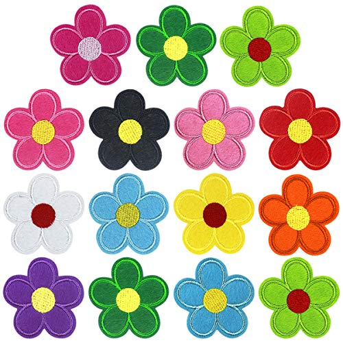 26 Piezas Coser Hierro en Parches Patch Sticker, Insignia Bordado Girasol Flores Parche, Pegatina de Parche, DIY Costura de Apliques para Ropa Mochila Gorras Chaqueta Bolsas