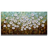 Asdam Art 100% Hand Painted 3D Paintings On Canvas Ready to Hang White Daisy Flower Oil Paintings Abstract Landscape Artwork Wall Art for Living Room Bedroom (24X48 inch)