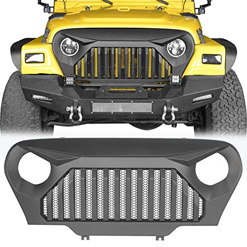 u-Box Front Gladiator Vader Grille Grill Overlay Cover in Matte Black Compatible with 1997-2006 Jeep Wrangler TJ & TJ Unlimited