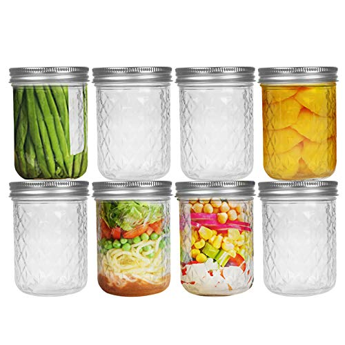 FRUITEAM 16 oz (8-Set) Mason Jars with Lids and Bands, Quilted Crystal Glass Canning Jars Ideal for Jellies, Smoothies, Salsas, Sauces, Relishes, Pie Fillings, Fruits and Vegetables